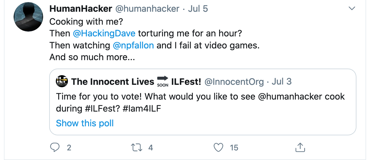 What should humanhacker cook for ILFest