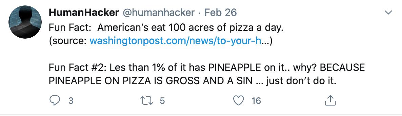 Pineapple pizza is gross