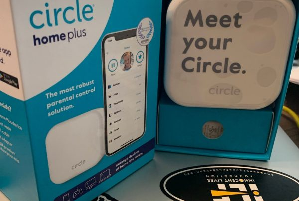 """circle home plus device half unboxed with text """"Meet your circle"""""""