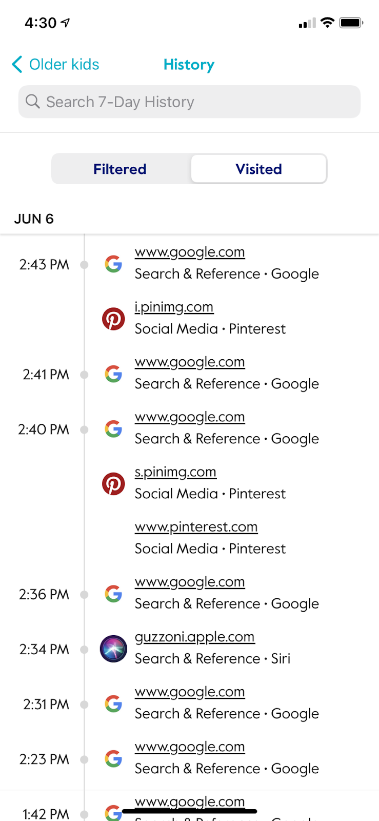 screenshot from circle app showing 7-day visited history urls